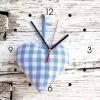 Wanduhr My Clock - blaues Stoffherz