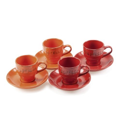 Espresso-Set SWEET HOME - rot/orange