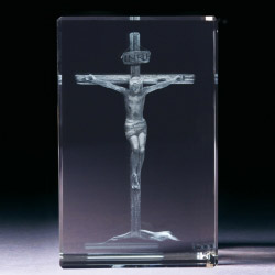 Glasblock - Jesus am Kreuz