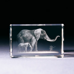 Glasblock - Elefant mit Baby