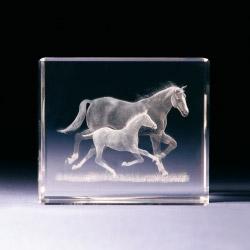 Glasblock - Pferd mit Fohlen