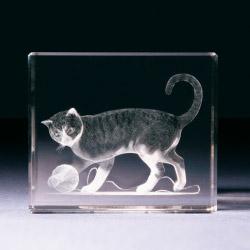 Glasblock - Katze mit Wollknäuel