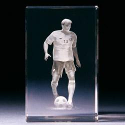 Glasblock - Fußballspieler dribbelnd