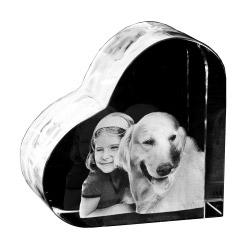 Glasfoto Herz in 3D mittel