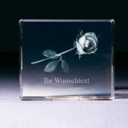 Glasblock - Rose mit Wunschtext