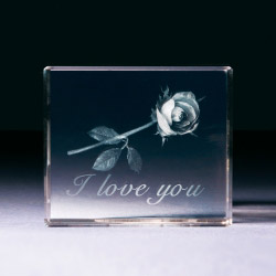 Contento Glasblock - Rose I love you