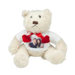 Stofftier - weißer Teddy mit Foto
