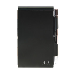 Quick Notes Alu-Notizblock schwarz mit Textgravur