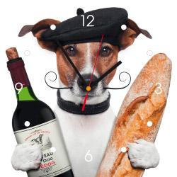 Wanduhr My Clock - Hund mit Wein