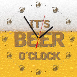Wanduhr quadratisch - IT'S BEER O'CLOCK