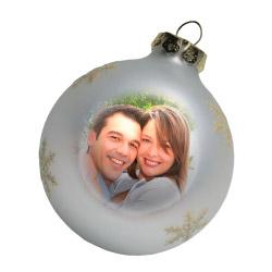 Weihnachtskugel mit Foto silber
