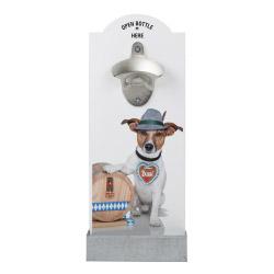 Wand-Flaschenöffner - Hund mit Fass