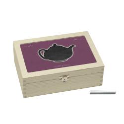 Teebox lila mit Teekannen-Motiv