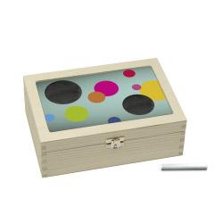 Teebox türkis mit bunten Kreisen
