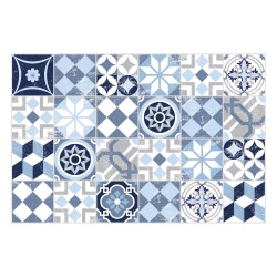 Vinyl Teppich MATTEO 60x90 cm Mosaik Blau