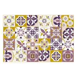 Vinyl Teppich MATTEO 60x90 cm Mosaik Lila-Ocker