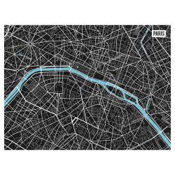 Tischset Vinyl Paris City Map S/W