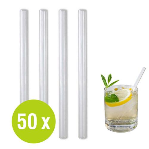 50 St. Glastrinkhalme Großpack Ø 9 x 150 mm + 1 Bürste