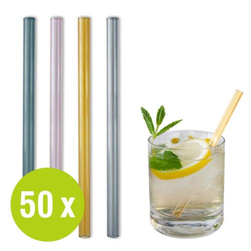50 St. Glastrinkhalme bunt Großpack Ø 8 x 150 mm + Bürste
