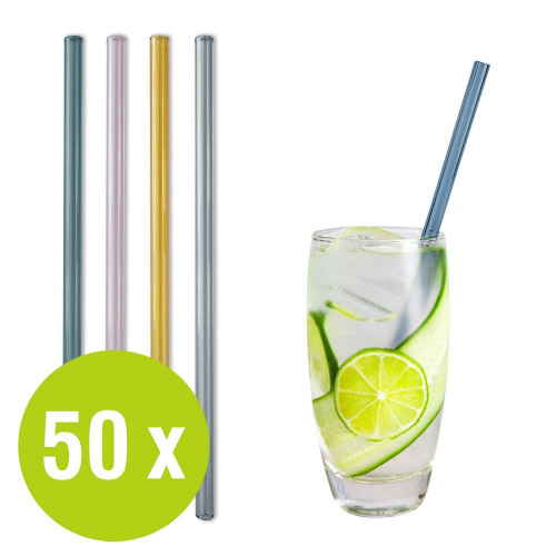 50 St. Glastrinkhalme bunt Großpack Ø 8 x 240 mm + Bürste