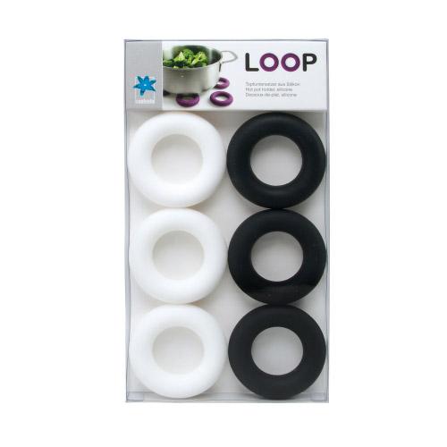 Topfuntersetzer Loop Schwarz-Weiß