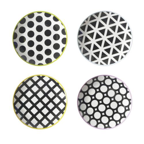 Porzellanteller Cool Black Schwarz-Weiß