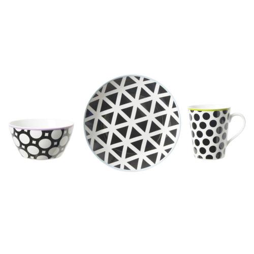 Geschirrset Cool Black 3-teilig Schwarz-Weiß