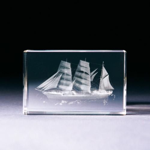 Glasblock - Segelschiff - Gorch Fock