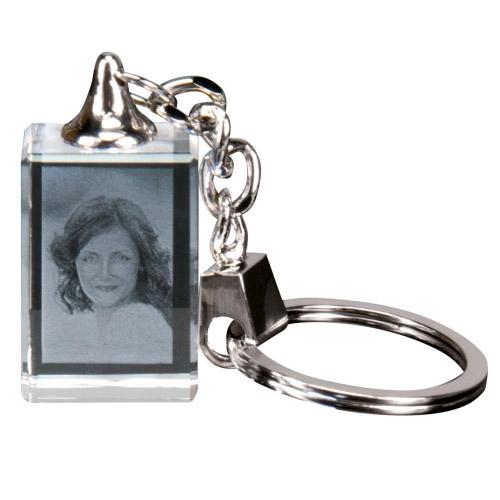 Glas Schlüsselanhänger mit 2D Foto - Rechteck