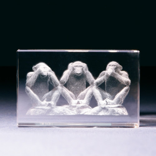 Glasblock - Drei Affen