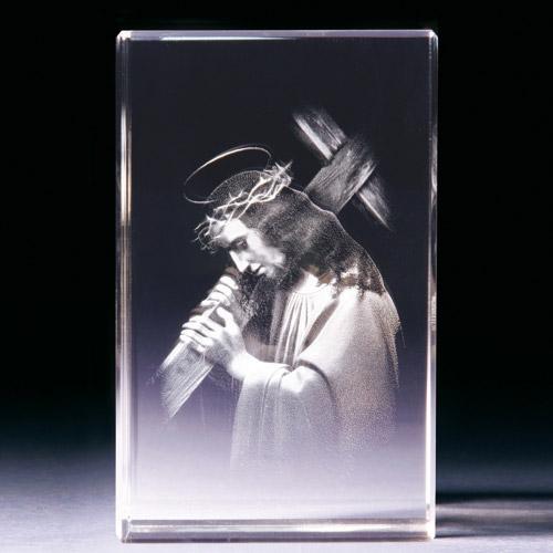 Glasblock - Jesus mit Kreuz