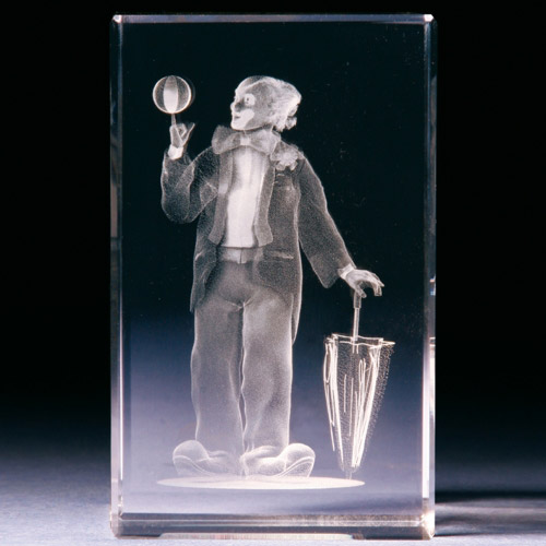 Glasblock - Clown mit Ball