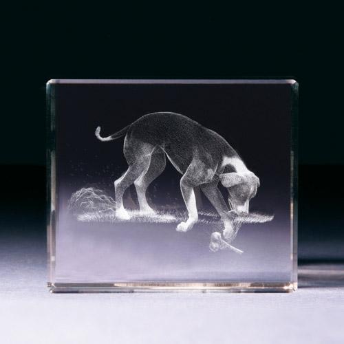 Glasblock - Hund grabend
