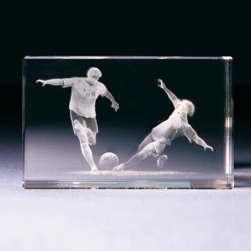 Glasblock - Fussballspieler Szene