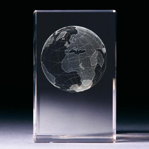 Glasblock - Weltkugel - 3D Motiv