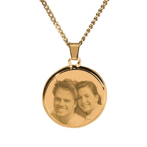 Halskette mit Gravur rund - gold