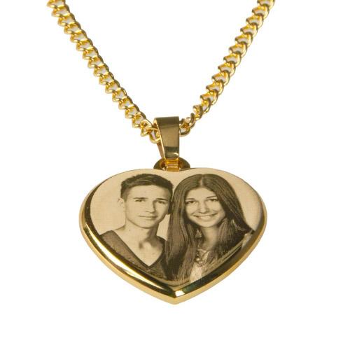 Halskette mit Gravur Herz - gold