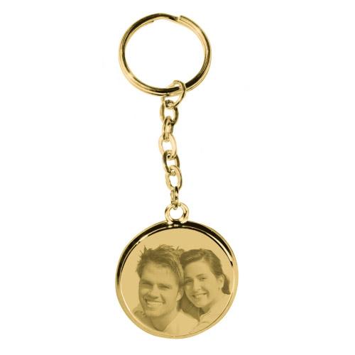 Schlüsselanhänger mit Gravur rund - gold