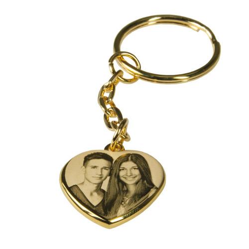 Schlüsselanhänger mit Gravur Herz - gold