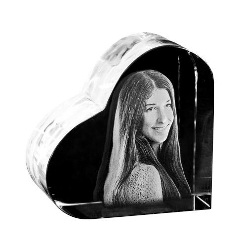 Glasfoto Herz in 3D klein