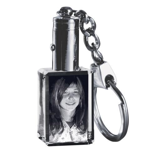 Schlüsselanhänger - Glasfoto 3D blaues Licht - 1 Person