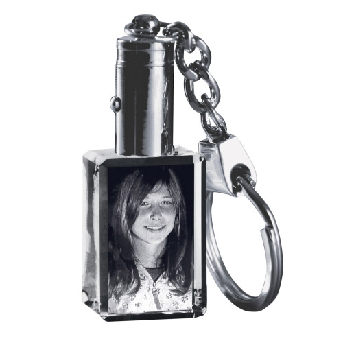 Schlüsselanhänger - Glasfoto 3D rotes Licht - 1 Person
