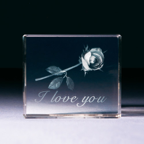 Glasblock - Rose I love you