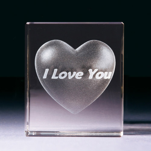 Glasblock - Herz mit I love you