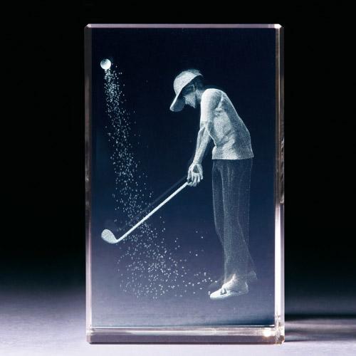 Glasblock - Golfer im Bunker