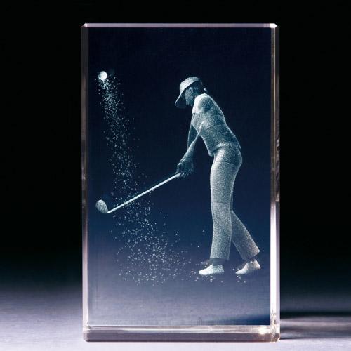 Glasblock - Golferin im Bunker