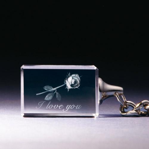 Schlüsselanhänger - Rose - I love you