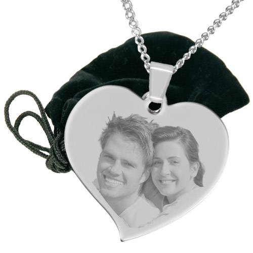 Halskette mit Gravur großes Herz - silber