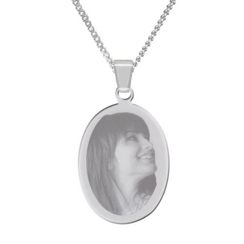 Halskette mit Gravur Oval - silber