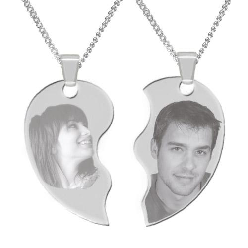 Halskette mit Gravur Herz 2-tlg - silber